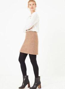 M&S A-line Mini Skirt Size UK 10 Long RRP£35 Autumn Winter Wool Blend Skirt NEW