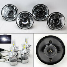"FOUR 5.75"" 5 3/4 Round H4 Clear Projector Headlights w/ 36W LED H4 Bulbs Mercury"