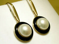 CE630 Genuine 9ct Yellow Gold NATURAL Pearl & Onyx Drop Earrings Vintage style