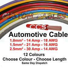 14A 21A 30A 12v Automotive Cable 1m-100m Auto Wiring Loom Marine 1 1.5 2.5mm Amp