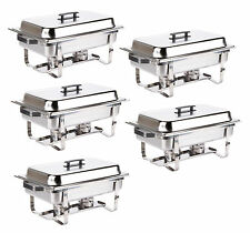 5 Pack Chafer Catering Stainless Steel Chafing Dish Sets 8 Qt Full Size +Rebate