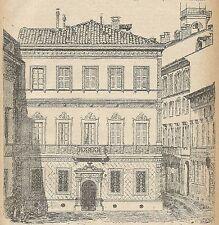 A3907 Milano - Casa di Alessandro Manzoni - Incisione - Stampa Antica del 1889