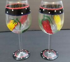 HAND PAINTED WINE GLASSES LARGE SET OF 2 PEPPERS BAR STEMWARE DRINKWARE 8.75