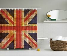 British Flag Union Jack Red Blue Fabric Artwork Shower Curtain