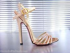 MORI ITALY SANDALS HIGH HEELS SANDALETTE SANDALI SCHUHE LEATHER ORO GOLD ROSE 44