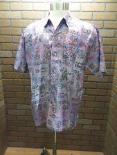 Thai Silk by Apple Thailand Purple Paisley print sz XL button front casual shirt