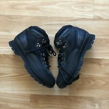 Timberland MEN'S CLASSIC LEATHER BOOTS EURO HIKER BLACK Leather Shoes 9