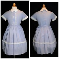 Vintage 60's Girls Blue & White Gingham Check & Lace School Party Dress Size 10