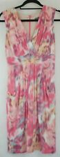 JACQUI E Ladies Pink Print Sleeveless Casual Business Cocktail Dress Size 8