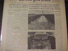 VINTAGE NEWSPAPER HEADLINE ~WASHINGTON DC CIVIL RIGHTS MARCH SPEECH MLK DR KING~