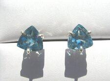 Blau Topas Swiss Blue facett. Ohrstecker 11,5x8,5 mm 925 Silber E7121