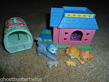 VINTAGE LITTLEST PET SHOP 1995 FAMILY MAGIC COZY BIRTHING KITTY CAT PLAYSET LOT