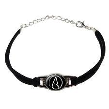 Atheism Atheist Symbol White - Novelty Suede Leather Metal Bracelet - Black
