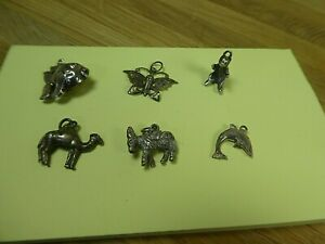 Job lot 6 Vintage Animal Silver Charms-Fish,Camel,Bear,Dolphin,Butterfly,Donkey