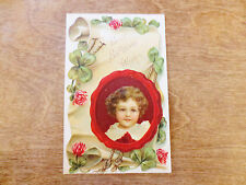 1908 Happy Best Birthday Wishes Greetings Embossed Velveteen Postcard Girl