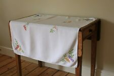Vintage White Linen Tablecloth Hand Embroidered Wisteria Flowers