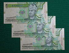 3X THREE Turkmenistan 1 Manat PRESS (Unc) CONDITION!!! 2012