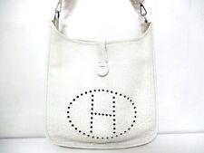 Authentic HERMES White Evelyne GM Buffle Shoulder Bag Square E w/ Dust Bag