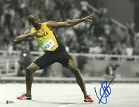 'THE POSE' USAIN BOLT SIGNED 11X14 PHOTOAUTHENTIC AUTOGRAPH BECKETT BAS COA 4