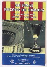 1972 European Cup Winners Cup Final Programme Glasgow Rangers Vs Moscow Dynamo