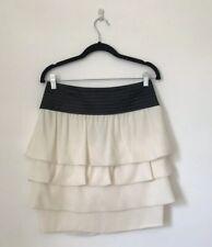 Reiss Women Skirt Size 10 Black Ivory Pleat Knee Length Ruffle Tiered