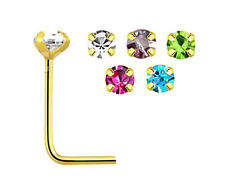 5 Colour Prong Gem Gold Plated  Silver  L Shape Nose Studs 24g - 1.8mm Gem #5NS