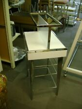 White Amp Chrome Small Two Tier Retail Store Fixture Merchandise Display Table