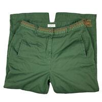 Christopher Banks Women 10 Embroidered Pant Slacks Straight Leg High Waist Green