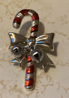 Vintage Christmas RED Enamel and Silvertone Candy Cane Pin Brooch Bells Estate