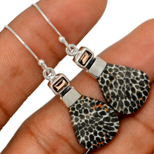 Black Coral & Smoky Topaz 925 Sterling Silver Earring Jewelry BE64993