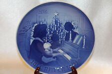 "Bing Grondahl Blue 1971 Jule After Annual Collector 7"" Plate Christmas At Home"