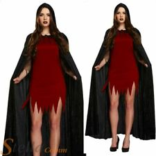 Ladies Black Velvet Hooded Cloak Vampire Cape Halloween Fancy Dress Costume