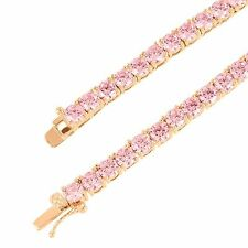 "Rose Gold Finish Tennis Necklace Men Women Pink Solitaire Lab Diamond 18"" 4mm"