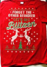 """Ugly Christmas Tshirt """"Forget the Other Reindeer Lets Get Blitzen"""" Xlg Red"""