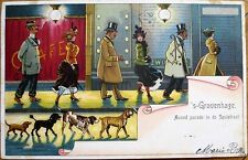 Couples & Dogs Walking by Gaslamp at Night 1903 Color Litho Postcard, Gravenhage