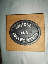 *ANTIQUES & COLLECTABLES-METAL PLAQUE ON WOODEN PLINTH-SHOP WINDOW DISPLAY BLOCK