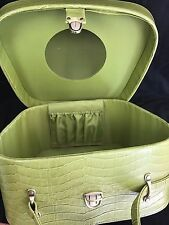 Green Vintage Moc Croc Train/Travel Vanity Case Overnight Bag