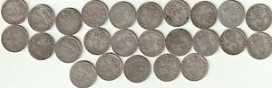 25   PRE 1920  SILVER  THREEPENCE 3d COINS.