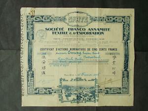 TONKIN: Societe Franco ANNAMITE Textile & Exportation - SHARE -  NAM-DINH 1926