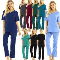 Medical Scrub Uniform Unisex Medical Doctor Nurse Hospital Suit Top Long Pants