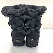 Womens UGG size 8 BAILEY BOW jet black leather suede boots sherpa shoes 1002954