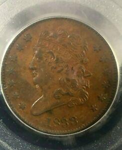 1833 Classic Head Half Cent PCGS AU55 Cert# 20320674