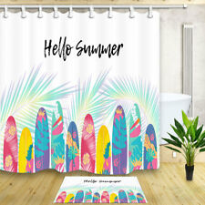 Summer Colorful surfboard palm leaves Bathroom Shower Curtain Waterproof Fabric