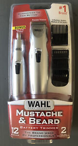 Wahl Mustache and Beard Battery Trimmer Grey 12pcs