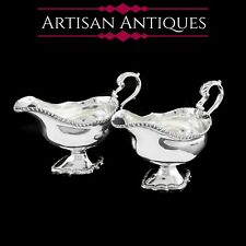 More details for antique georgian solid silver pedestal sauce boats - william collins 1774