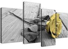 Canvas Art of Yellow Rose Pictures Black White and Grey for Living Room