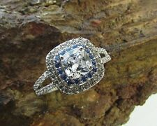Cubic Zirconia Ladies Ring Engagement Sterling Silver 925 White Blue Swarovski