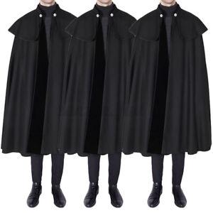 Punk Fashion Mens Long Cloak Cape Coat Poncho Loose Pullover Fleece Outwear UK