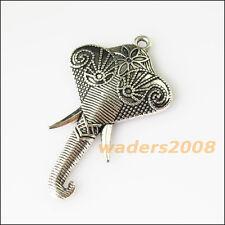 3 New Elephant Head Animal Tibetan Silver Tone Charms Pendants 27x46mm