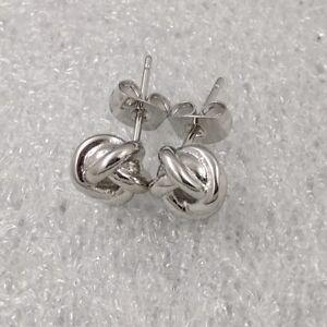 18K White Gold Filled Elegant Italian Smooth Love Knot Stud Earrings 10mm